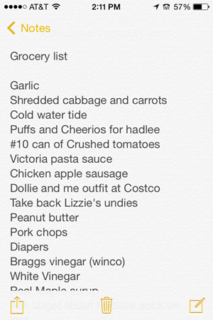 grocery list from i phone